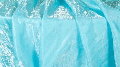 Aqua Iridescent Crush Sash 7