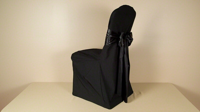 Black Matte Satin XXL Chair Cover (LOT OF 50)