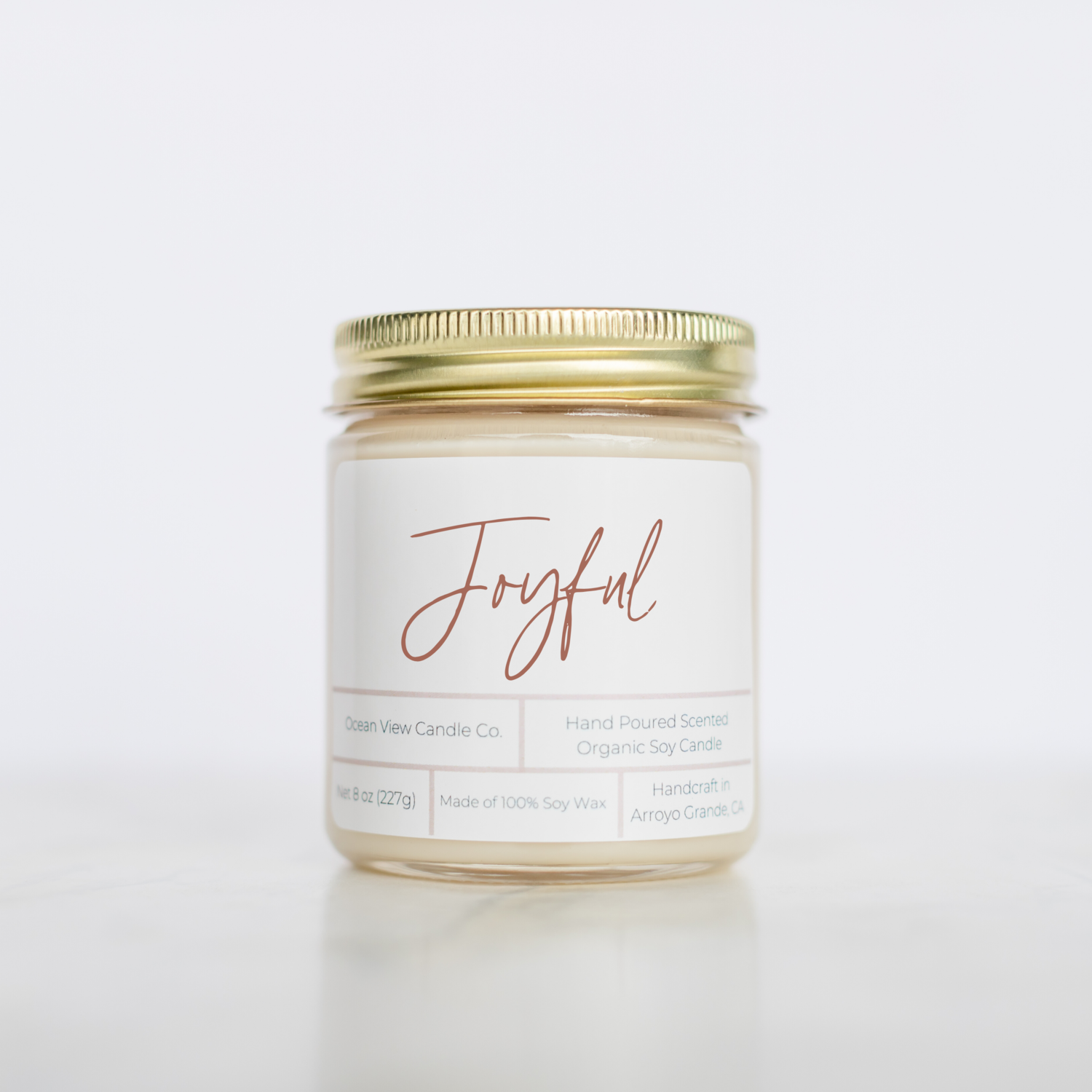 "Eucalyptus Spearmint Soy Wax Candle ""Joyful"""
