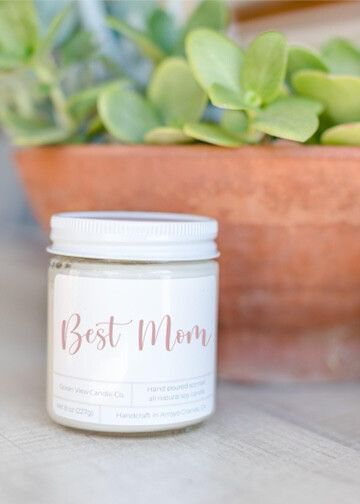 """White Tea & Fig Soy Wax Candle """"Best Mom"""""""