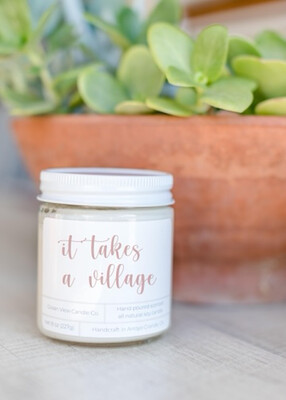 "Lemon Verbena Soy Wax Candle ""It Takes A Village"