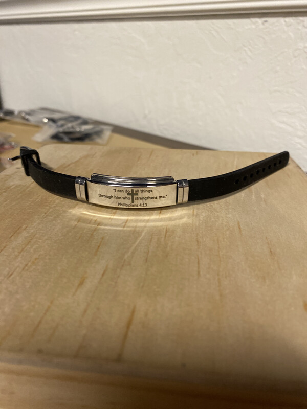 Silicone and metal bracelet, Philippians 3:16