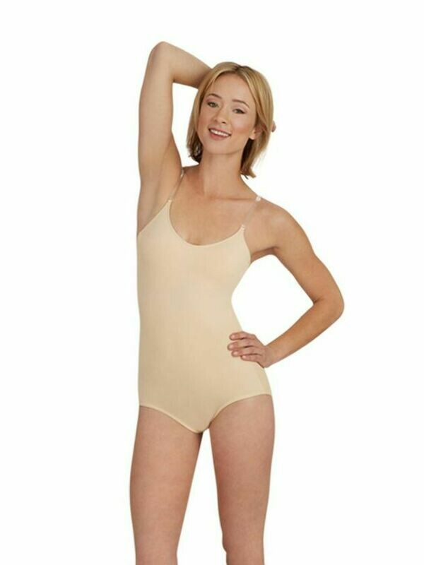 CP 3565 NUDE LEOTARD W/CLEAR STRAPS