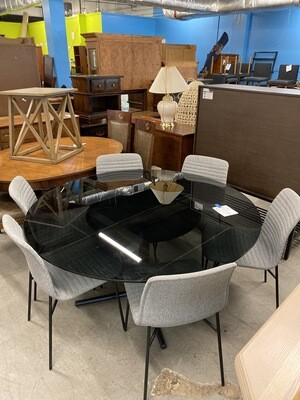 Round Glass Top Table With 6 Fornasarig Chairs