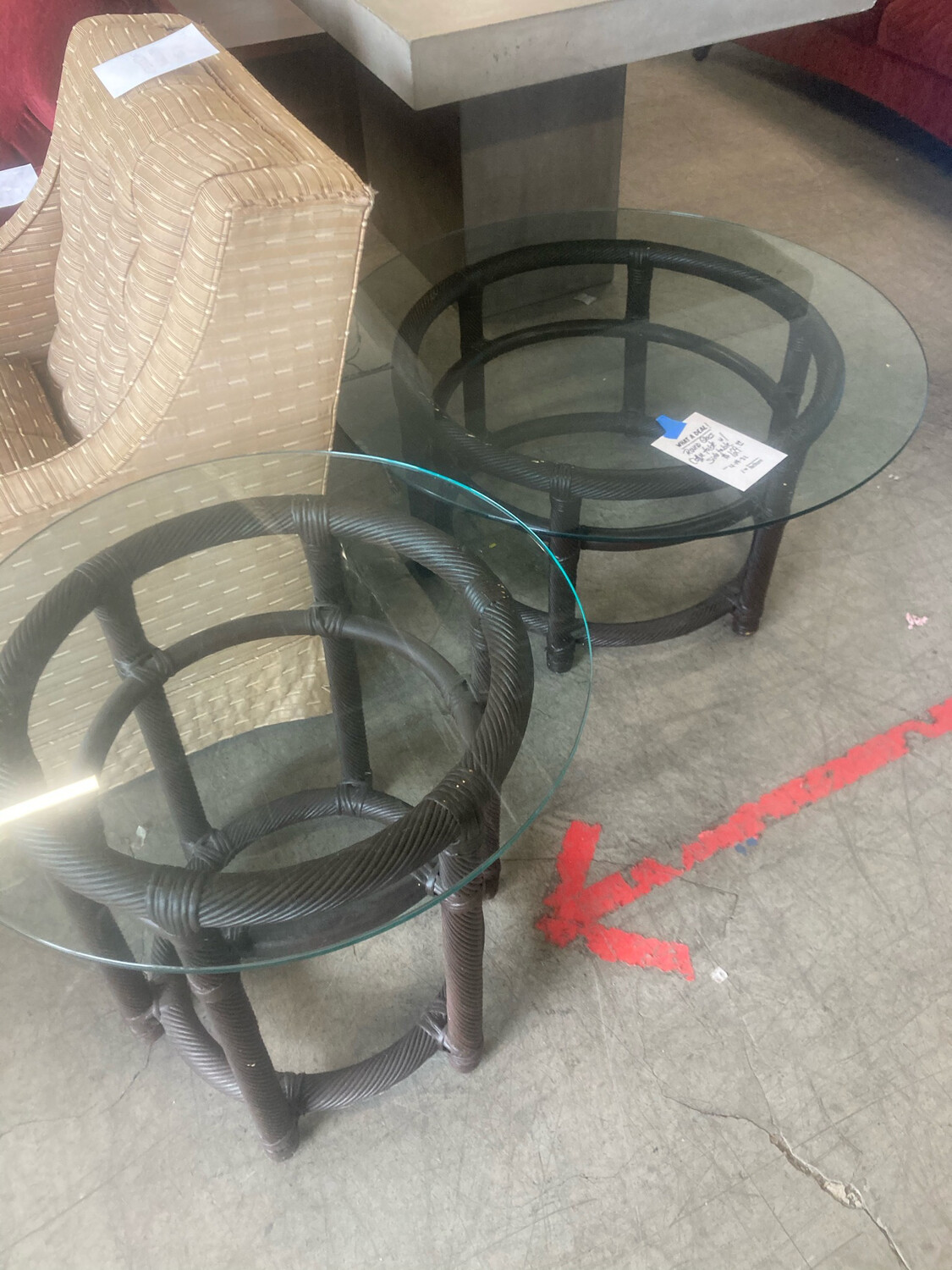 Round Glass Coffee Table With Side Table