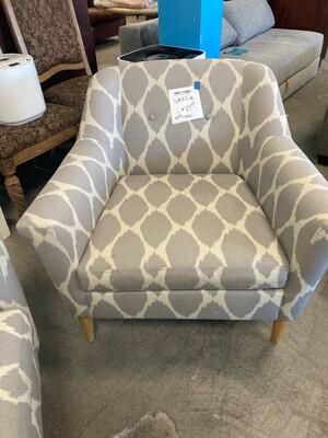 West Elm Gray/Cream Armchair