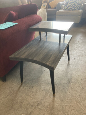 MCM Gray Striped Laminate End Table