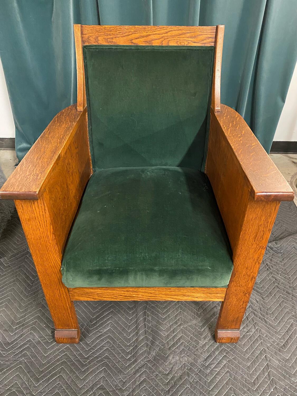 Vintage MissionGreen Felt Tiger Oak Chair