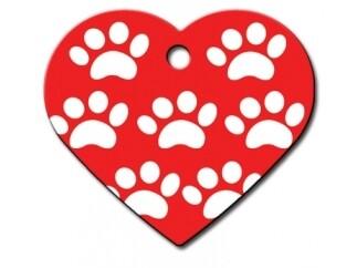 Corazón grande Rojo con Huellas Blancas (PLU 1926)