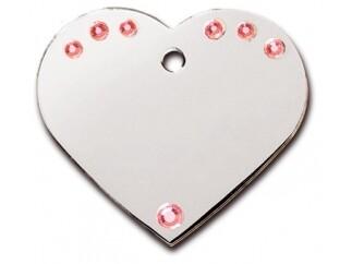 Corazón grande Diva cromado con Piedras Rosadas (PLU 125)