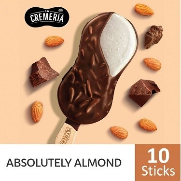 LA CREMERIA Absolutely Almond Stick Ice Cream (10 Sticks)