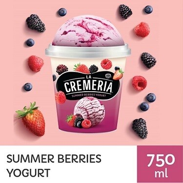 LA CREMERIA Summer Berries Yogurt Ice Cream (1 Pint, 750ml )