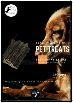 Beef Jerky Sticks -10 Pack Med to Large dogs.