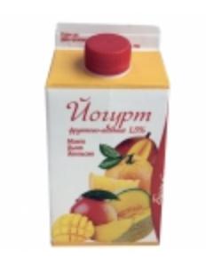 """Йогурт питьевой """"Вологодский"""" фруктово-ягодный (манго-дыня-апельсин) 1% 0.5 л."""