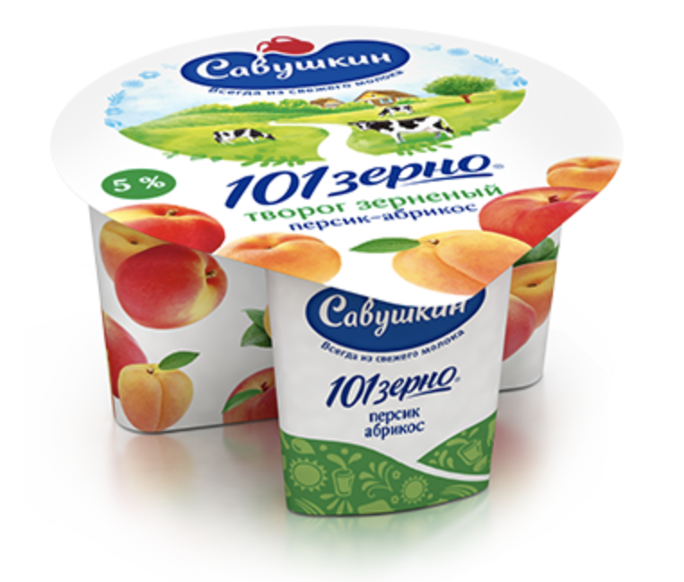 """Творог Савушкин """"101 зерно"""" (персик-абрикос)  5% 130 гр."""