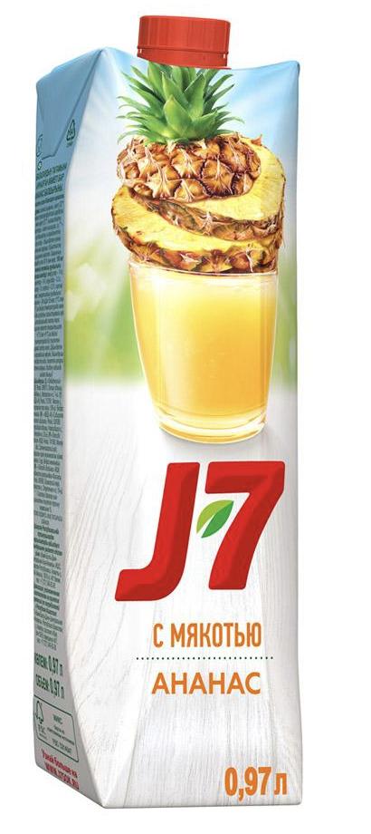 """Нектар J7 """"Ананас"""" с мякотью 1 л."""
