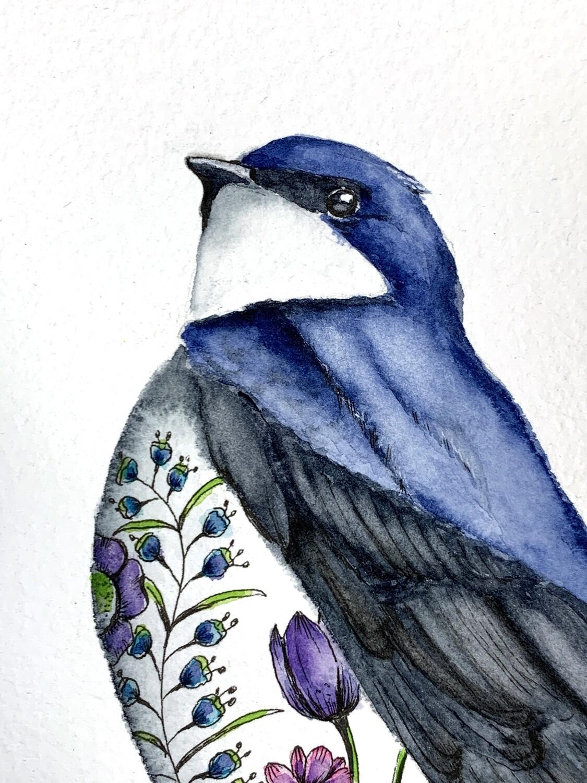 Original Watercolor Swallow Painting - Tattoo Bird Series