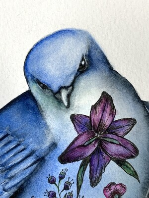 Orig. Watercolor Bluebird Painting - Tattoo Bird Series