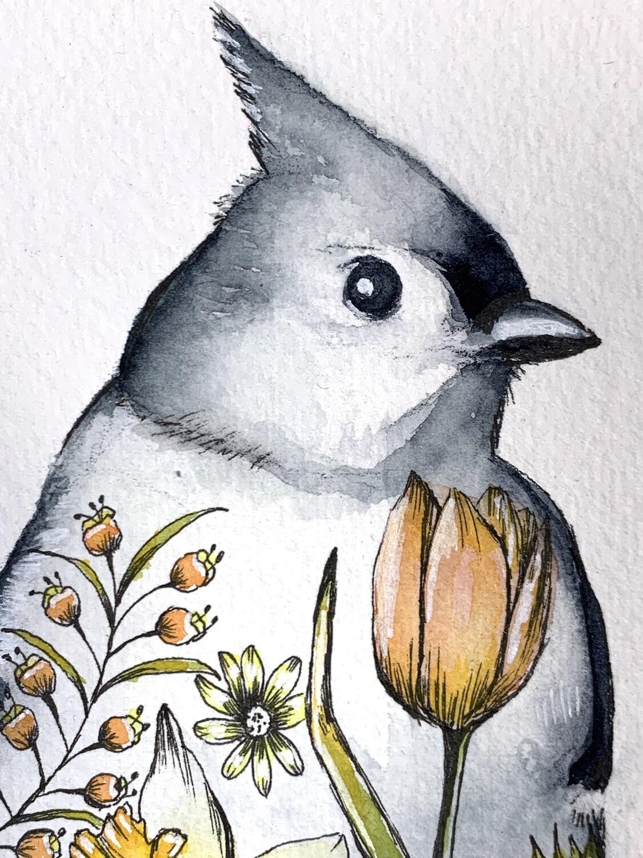 Original Watercolor Titmouse Painting - Tattoo Bird Series
