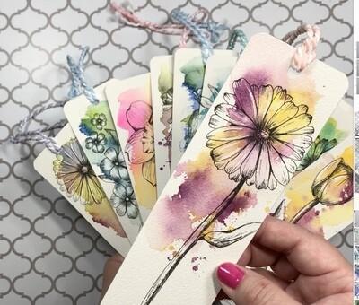 Watercolor/Ink flower bookmarks