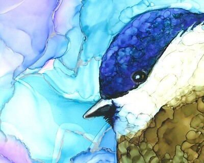 """Original """"Colorful"""" Chickadee Painting in Alcohol Ink on Birchwood Panel, 12""""x12"""""""