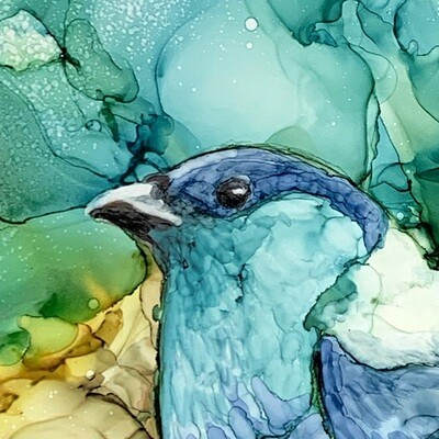 Original Teal/Blue Bird Painting in Alcohol Ink on Birchwood Panel, 12