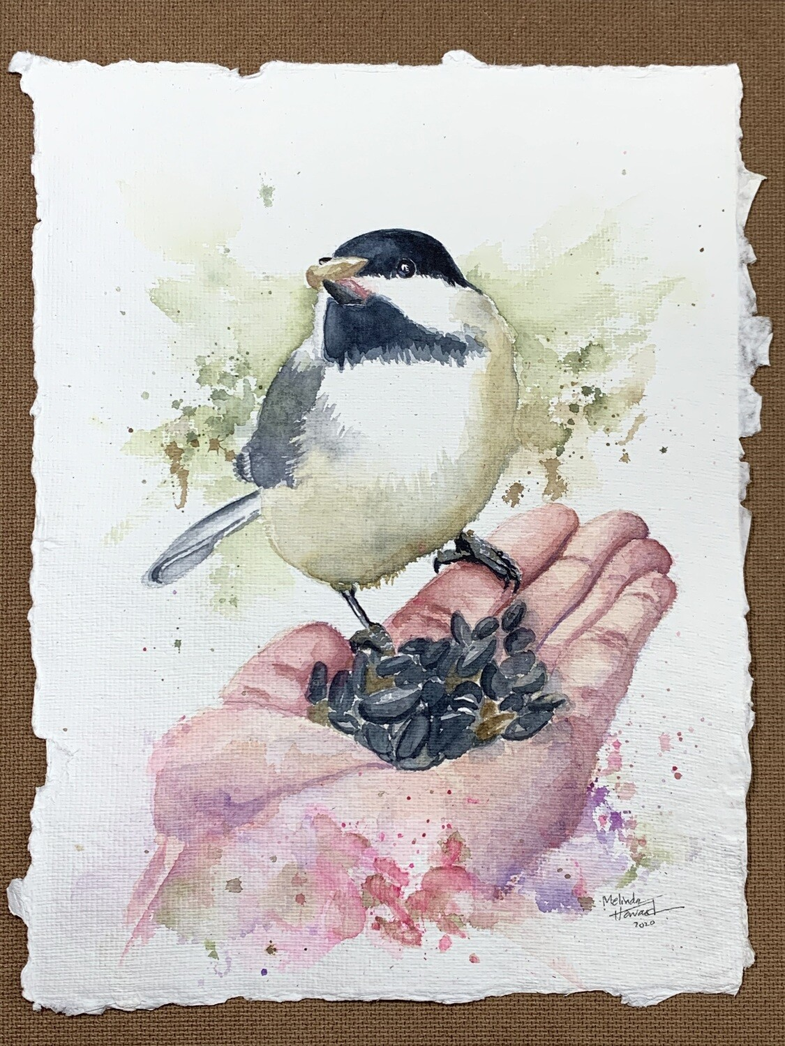 Black-Capped Chickadee - Watercolor Original Painting on Indigo Handmade Paper