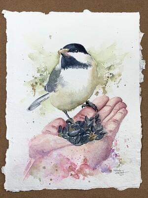 Black-Capped Chickadee - Watercolor Original Painting on Indigo Handmade Paper