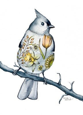 8x10 Tufted Titmouse - Tattoo Bird Series Print