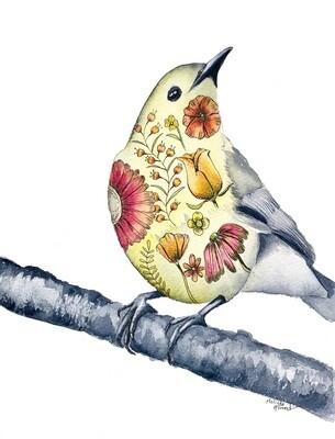 8x10 Warbler - Tattoo Bird Series Print
