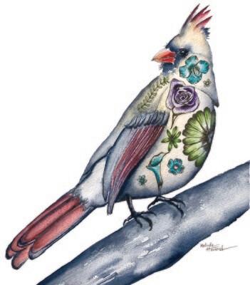 8x10 Female Cardinal - Tattoo Bird Series Print