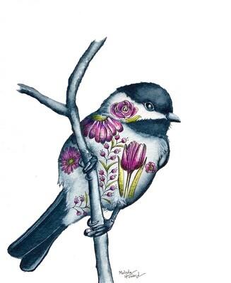 8x10 Chickadee - Tattoo Bird Series Print