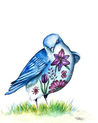 8x10 Bluebird - Tattoo Bird Series Print