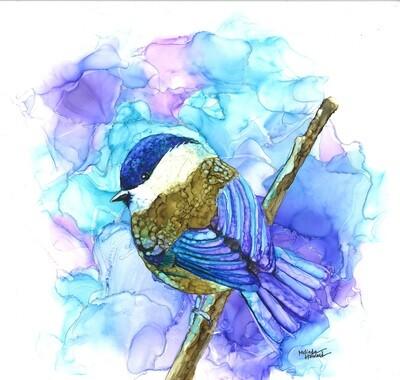 12x12 Chickadee- Alcohol Ink Bird Series Print