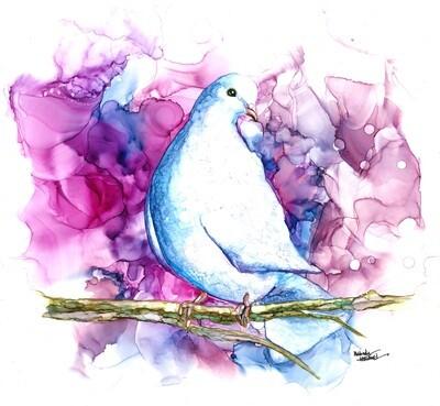 12x12 Dove - Alcohol Ink Bird Series Print