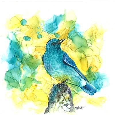 12x12 Blueish Bird- Alcohol Ink Bird Series Print