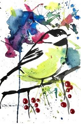 8x10 colorful Bird Print