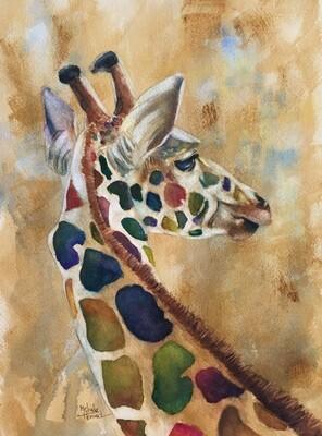 8x10 Giraffe- Antique Style Series Print
