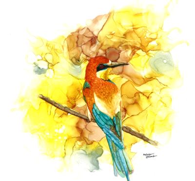 12x12 Flycatcher- Alcohol Ink Bird Series Print