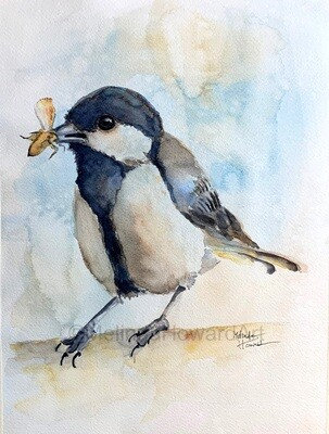 """Original Watercolor Bird Painting (called """"Dinner Time"""" - Textured Background Series"""
