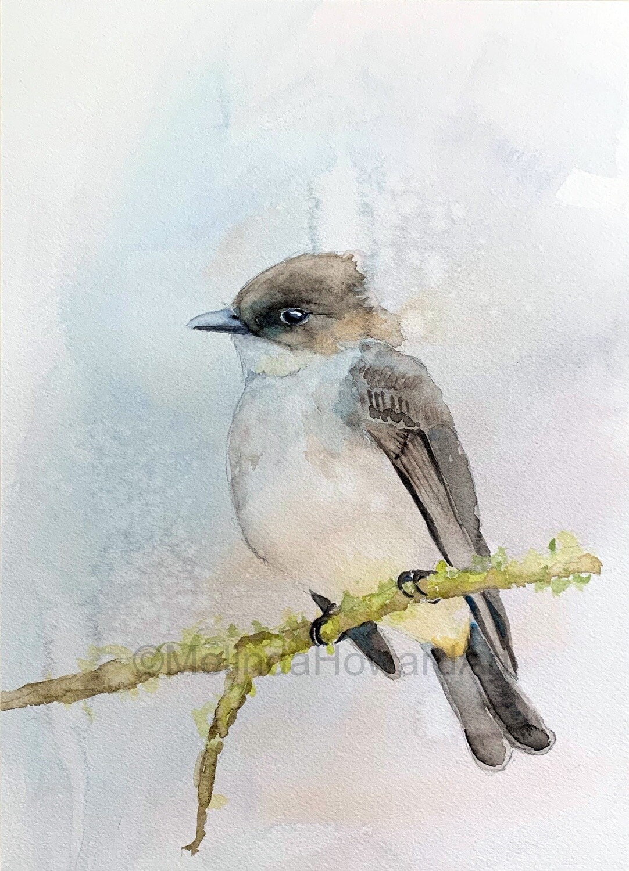 Original Watercolor Bird Painting - Textured Background Series