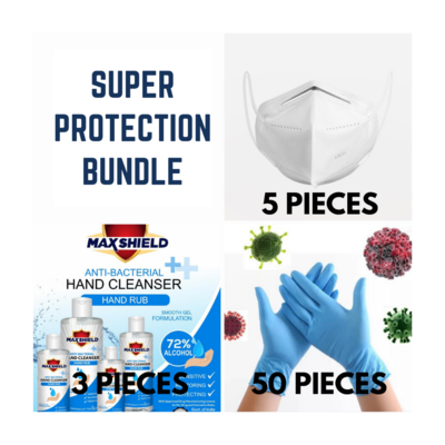 Super Protection Bundle- 5 KN-95 Masks+3 Hand Sanitizers+50 Gloves