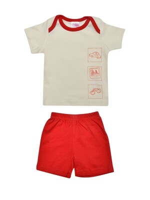 Charun Ivory Red Half Sleeves Top with Red Shorts