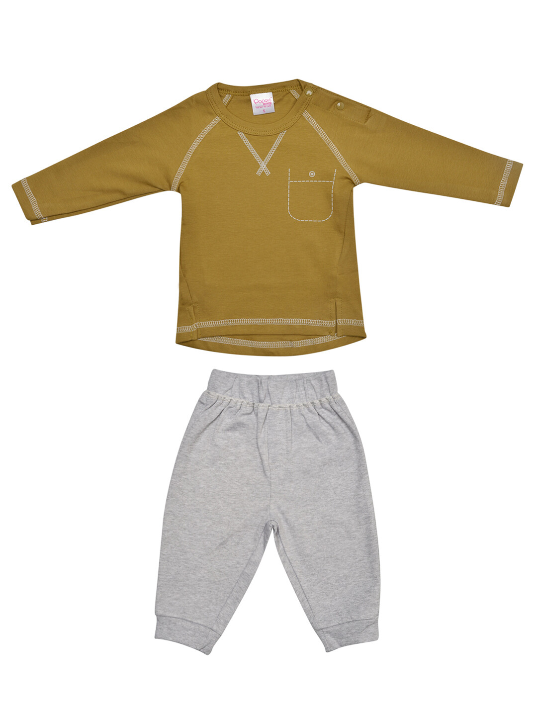 Fives Dull Gold Full Sleeves Round Neck T-shirt with Lounge pant
