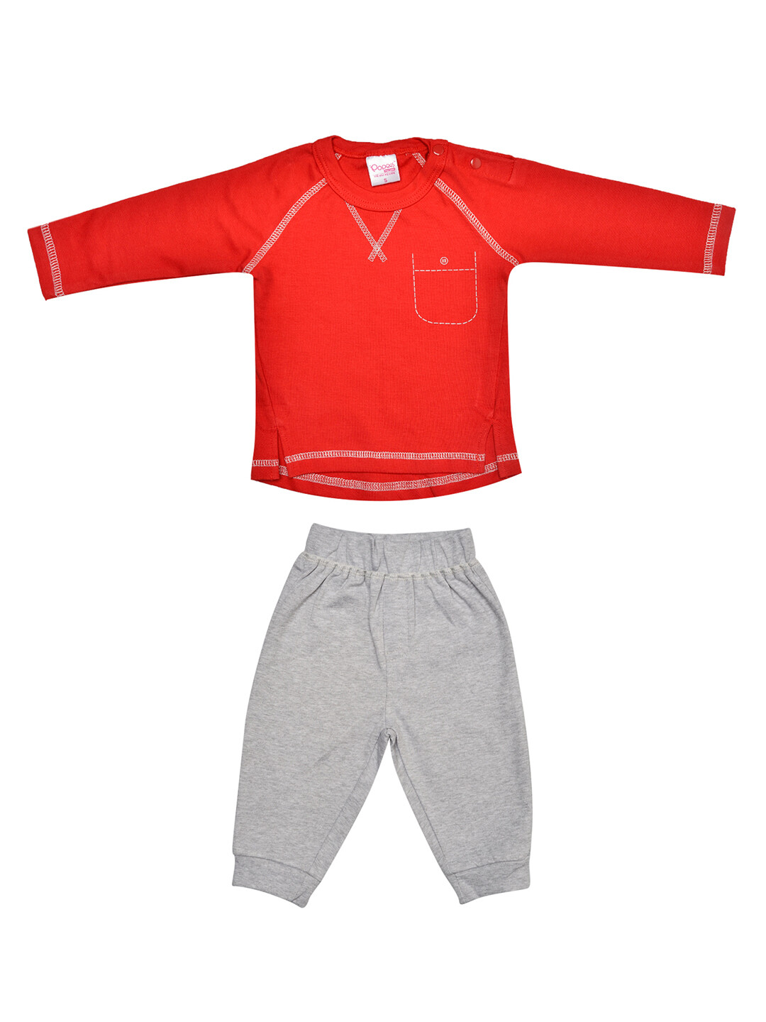 Fives Red Full Sleeves Round Neck T-shirt with Lounge pant