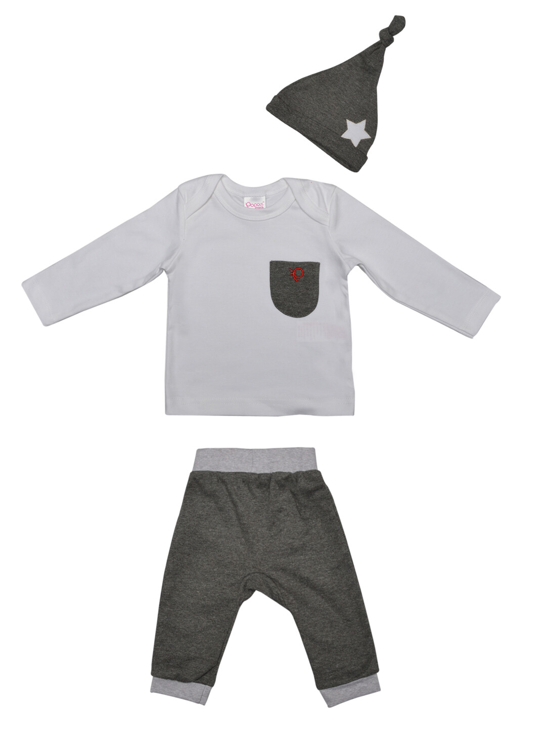Melvin White Full Sleeves Round Neck T-shirt with Lounge Pant and Knot Hat M (6-12 Months)