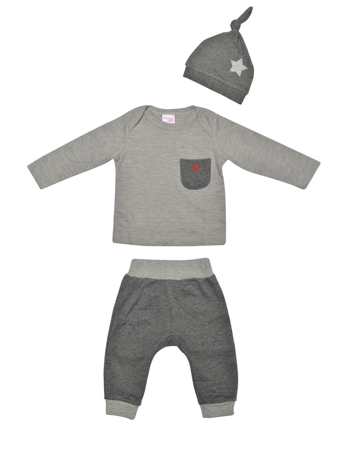 Melvin Grey Melange Full Sleeves Round Neck T-shirt with Lounge Pant and Knot Hat