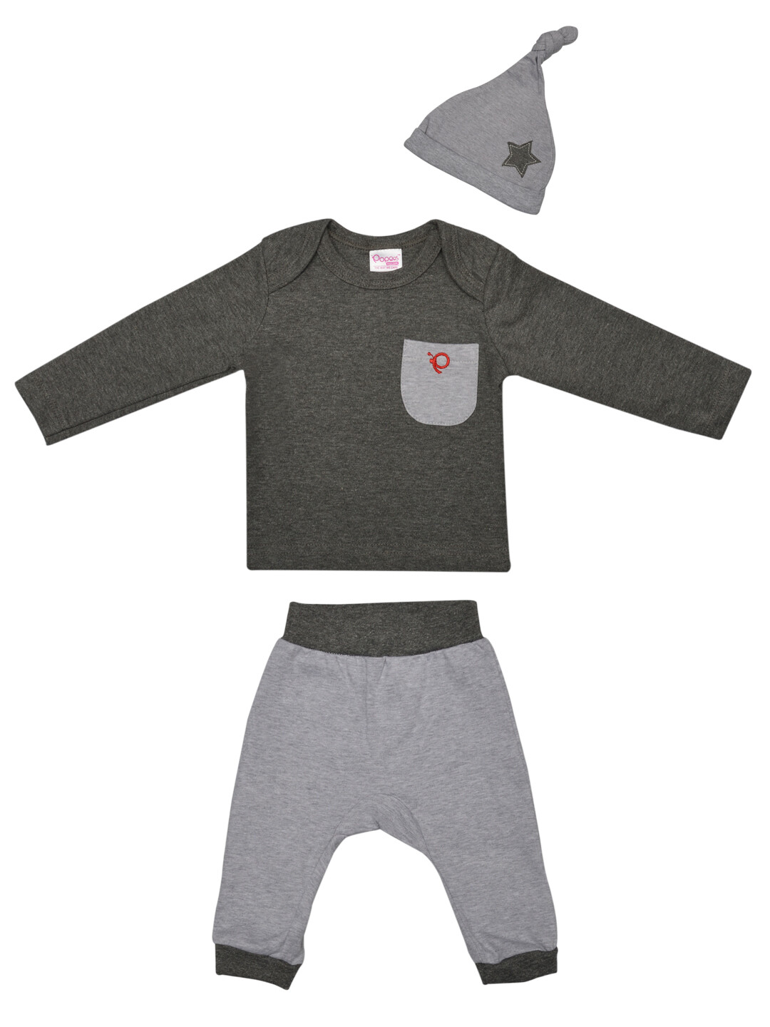 Melvin Charcoal Full Sleeves Round Neck T-shirt with Lounge Pant and Knot Hat M (6-12 Months)