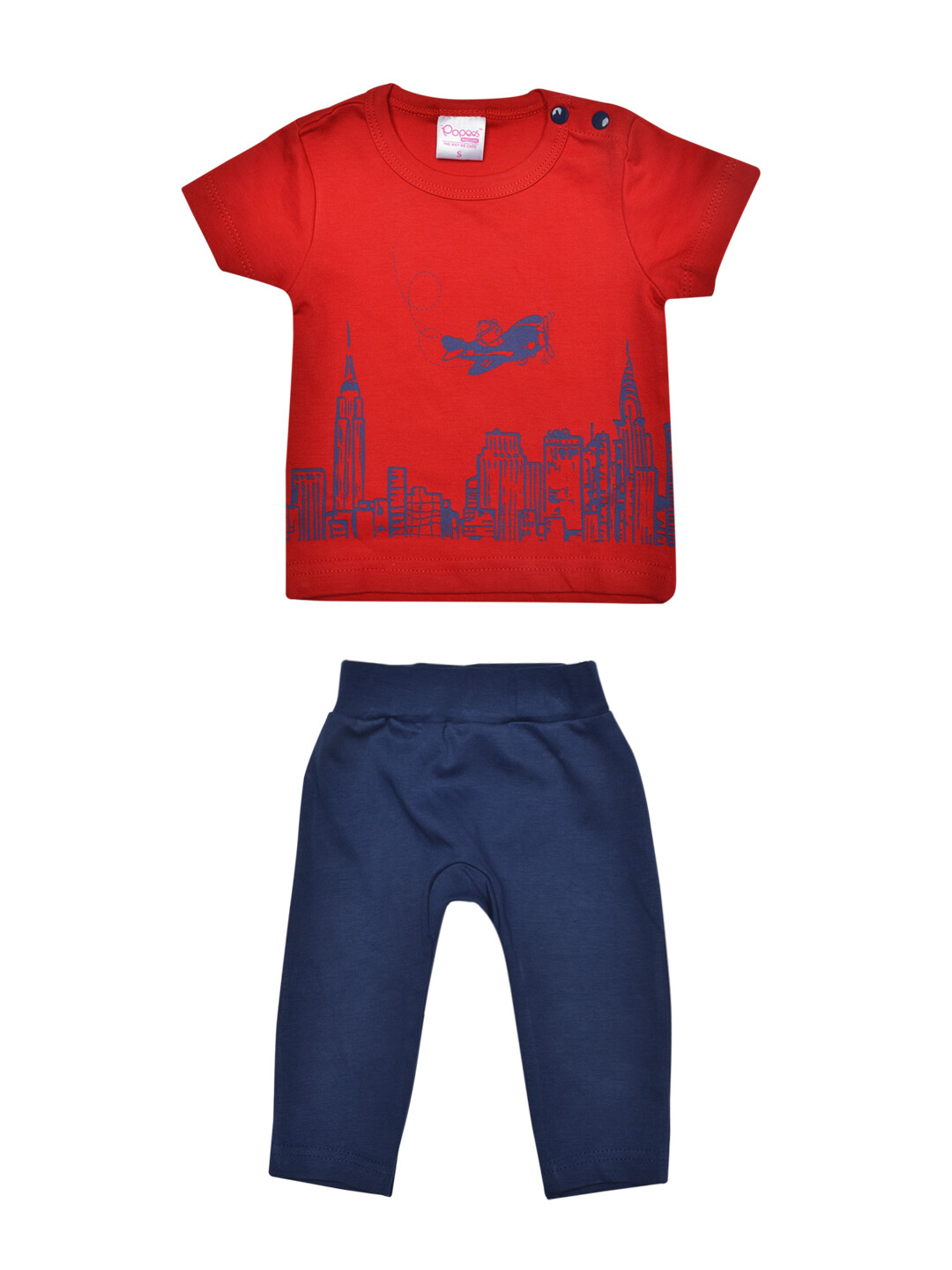 ​Metro Red ​Short Sleeves Printed Round Neck T-shirt with Blue Lounge Pant​​