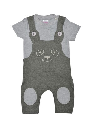 Pepson Grey Melange ​Short Sleeves Round Neck T-shirt with Dungaree